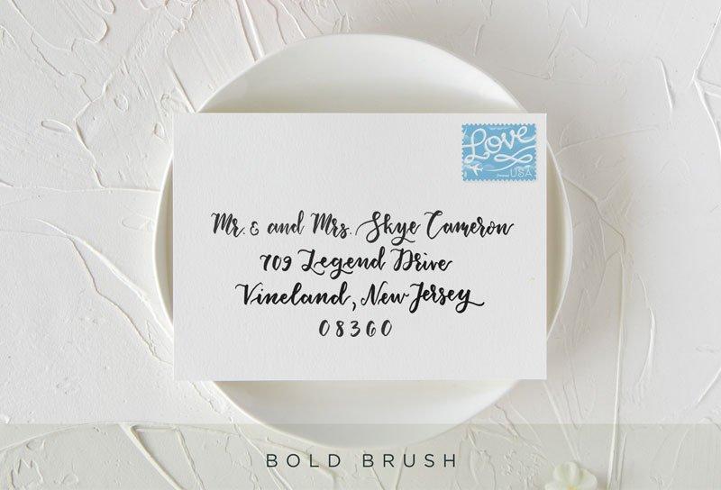 Bold Brush Style Envelope Calligraphy